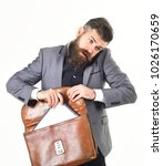 Small photo of Law, advocacy, stress, technology, business concept. Lawyer with beard talks on phone and takes documents. Advocate with worried face, smartphone and briefcase isolated on white background.
