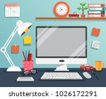 workplace with computer  the... | Shutterstock .eps vector #1026172291