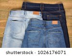 top view of three pairs of high ... | Shutterstock . vector #1026176071