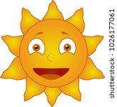 cartoon smiling sun on white... | Shutterstock .eps vector #1026177061