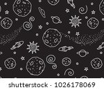 doodle black and white space... | Shutterstock .eps vector #1026178069