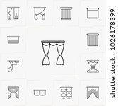 curtains and blinds line icon... | Shutterstock .eps vector #1026178399