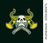 horns skull with cross axe... | Shutterstock .eps vector #1026182671