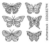 Stock vector a set of butterfly vector illustration doodle style design print logo decor textile paper 1026182794