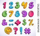 cartoon 3d numbers set. | Shutterstock .eps vector #102618761
