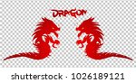 red dragon silhouette on... | Shutterstock .eps vector #1026189121