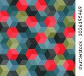 hexagon grid seamless vector... | Shutterstock .eps vector #1026195469