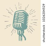 vintage old microphone on beige ... | Shutterstock .eps vector #1026204529