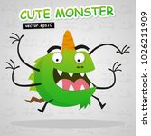 cute monster vector use for... | Shutterstock .eps vector #1026211909