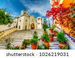 beautiful street view in kos... | Shutterstock . vector #1026219031