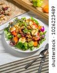 summer organic fruit salad with ... | Shutterstock . vector #1026223489