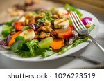 summer organic fruit salad with ... | Shutterstock . vector #1026223519
