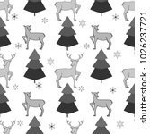 deer and christmas tree... | Shutterstock . vector #1026237721