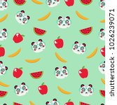 amazing pattern with panda in... | Shutterstock .eps vector #1026239071