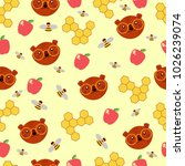 amazing pattern with bear in... | Shutterstock .eps vector #1026239074
