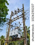 transformer station and power... | Shutterstock . vector #1026250237