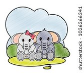 grated elephant couple cute... | Shutterstock .eps vector #1026266341