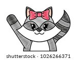 grated adorable female raccoon... | Shutterstock .eps vector #1026266371