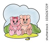 grated pig couple cute animal... | Shutterstock .eps vector #1026267229