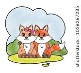 grated fox couple cute animal... | Shutterstock .eps vector #1026267235