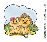 grated lion couple cute animal... | Shutterstock .eps vector #1026267241