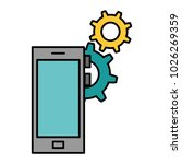 smartphone device with gears | Shutterstock .eps vector #1026269359