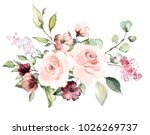 decorative watercolor flowers.... | Shutterstock . vector #1026269737