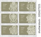 vector ornamental business card ... | Shutterstock .eps vector #102627221
