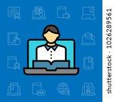 set of online education icons....   Shutterstock .eps vector #1026289561