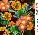 tropical flowers seamless... | Shutterstock .eps vector #1026296671