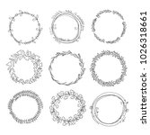 hand drawn floral wreath set | Shutterstock .eps vector #1026318661