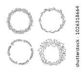 hand drawn floral wreath set | Shutterstock .eps vector #1026318664