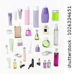 set of make up products and... | Shutterstock . vector #1026334651