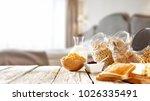 breakfast in bed in a beautiful ... | Shutterstock . vector #1026335491