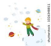 little prince flying with birds.... | Shutterstock .eps vector #1026348811