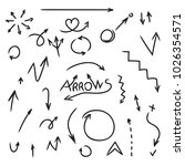 set of arrows hand drawn.... | Shutterstock .eps vector #1026354571