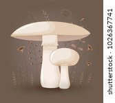 card with mushrooms champignon... | Shutterstock .eps vector #1026367741