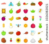 foodstuff icons set. cartoon... | Shutterstock .eps vector #1026382021