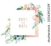 watercolor floral illustration  ... | Shutterstock . vector #1026392239