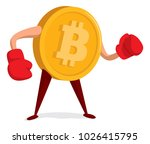 cartoon illustration of bitcoin ...   Shutterstock .eps vector #1026415795