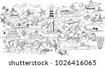 sea life   doodle hand drawing | Shutterstock .eps vector #1026416065