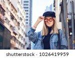 a beautiful young blond woman... | Shutterstock . vector #1026419959
