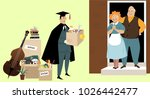 college graduate moving back... | Shutterstock .eps vector #1026442477