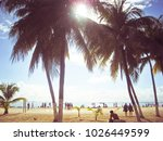palm trees on the beach at isla ... | Shutterstock . vector #1026449599
