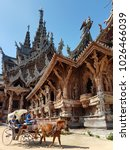 Small photo of Sanctuary of truth, 17 December 2017 - Tourist riding the horse carriage around the beautiful building
