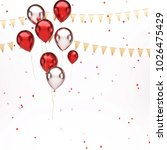 red and white metallic baloons... | Shutterstock . vector #1026475429