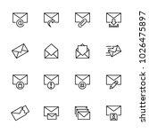 line icon set of envelope....