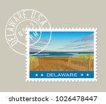 delaware postage stamp design.... | Shutterstock .eps vector #1026478447