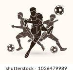 three soccer player team... | Shutterstock .eps vector #1026479989