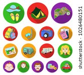 family holiday flat icons in... | Shutterstock . vector #1026480151